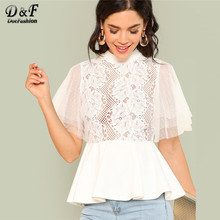 a61081342d Dotfashion White Mock Neck Smock Womens Tops And Blouses Elegant 2019  Clothing Short Sleeve Summer Plain Sheer Pullovers Shirt