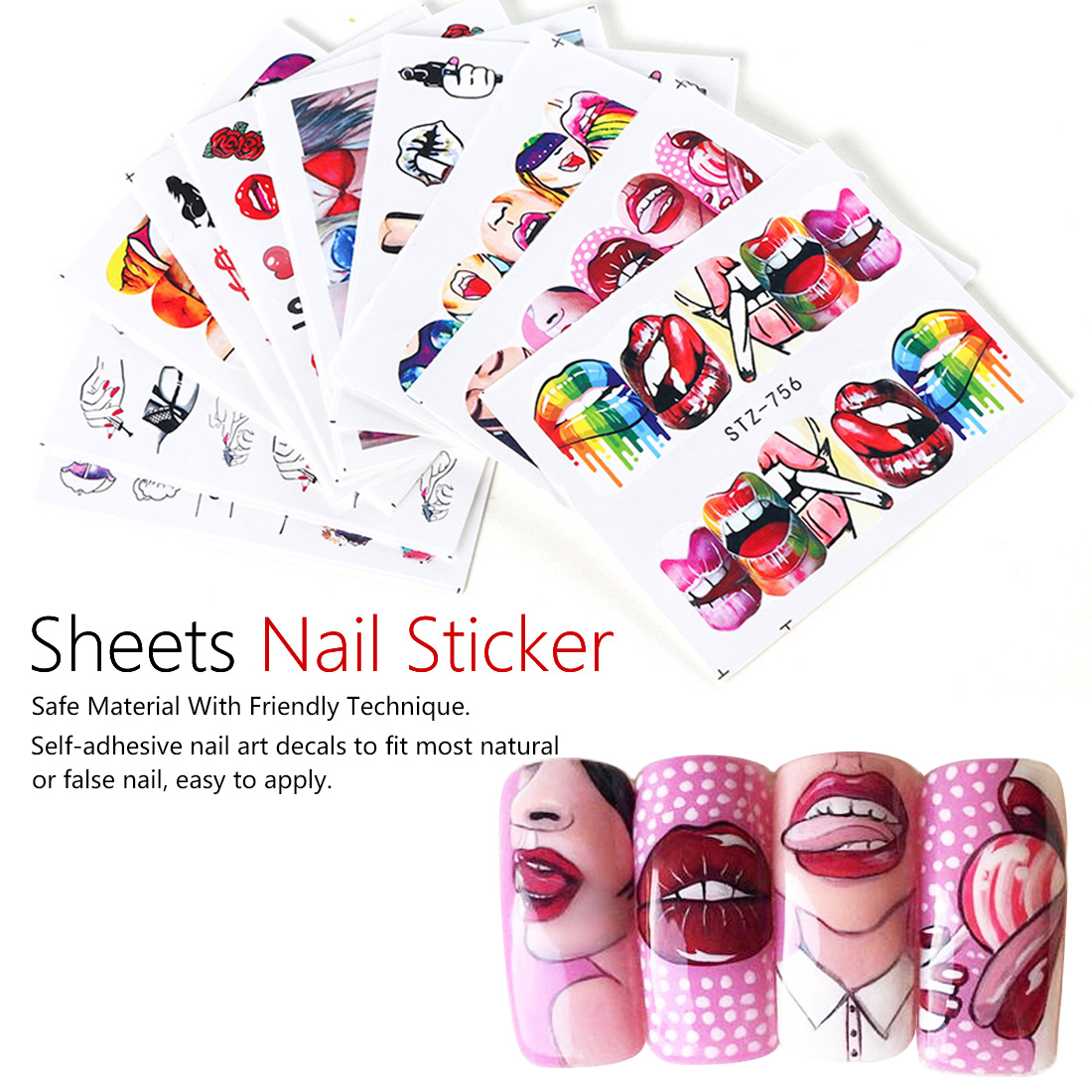 9pcs Nail Sticker Sexy Girl Lips Slider Water Decals  Water Transfer Tattoo Wraps Adhesive Tip Manicure Decoration(China)