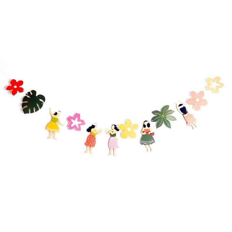HULA DANCER girl Banners Tropical Leaves Flowers I LOVE YOU Toucan Aloha  Garland for Luau Hawaiian Summer Beach Party Supplies