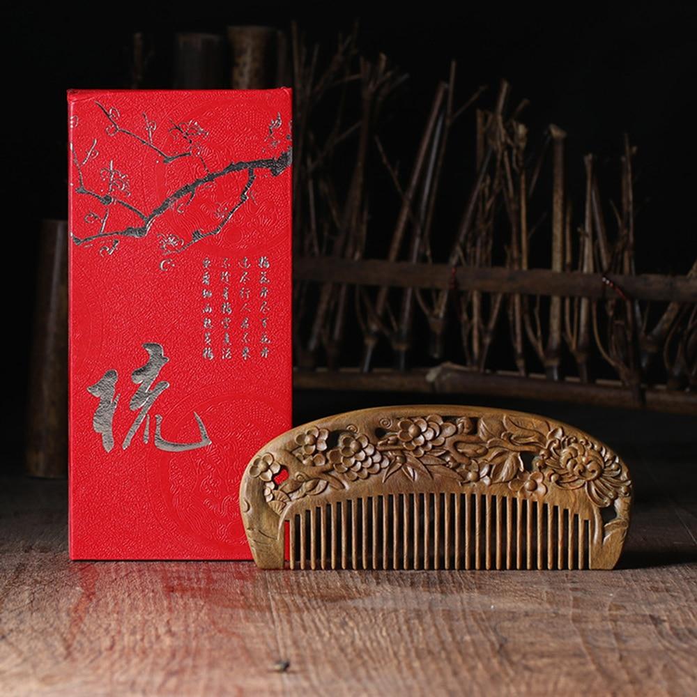 Расческа из сандалового дерева, расческа из натурального дерева, двойная резная расческа, подарок, 2020