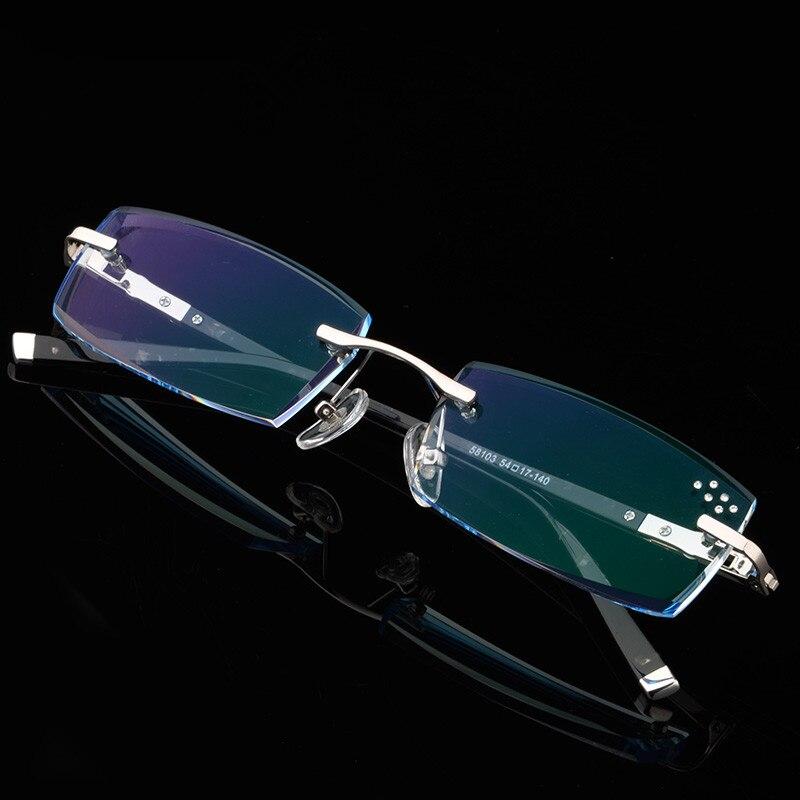 Herren brillen rezept schwarz dekorative steine randlose brille ...