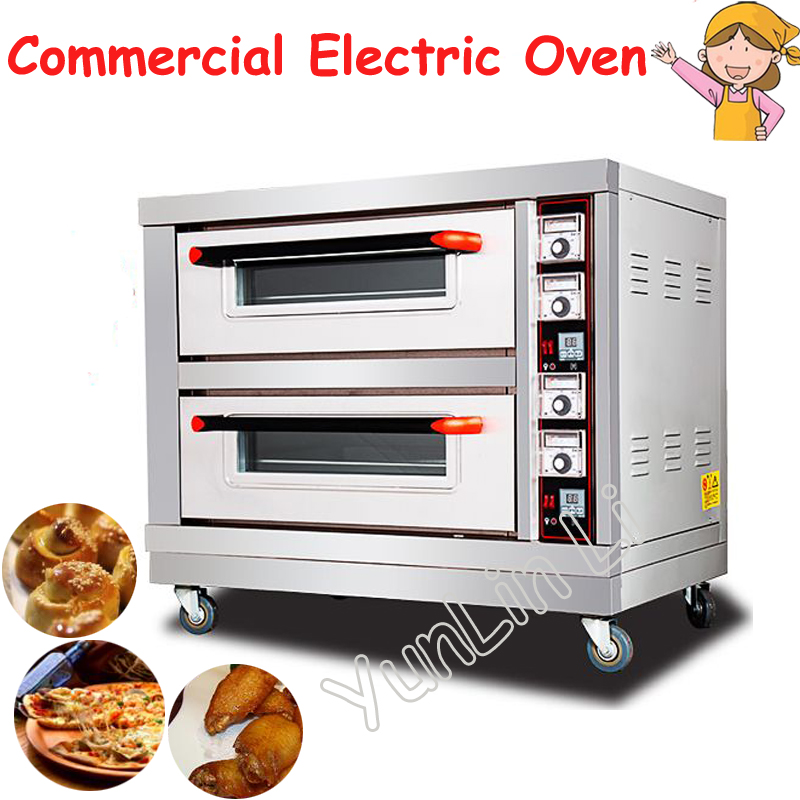 Commercial Electric Oven 6400W Double Layers Double Plates Baking Oven 220V Bread Cake Pizza Baking Machine BND2-2