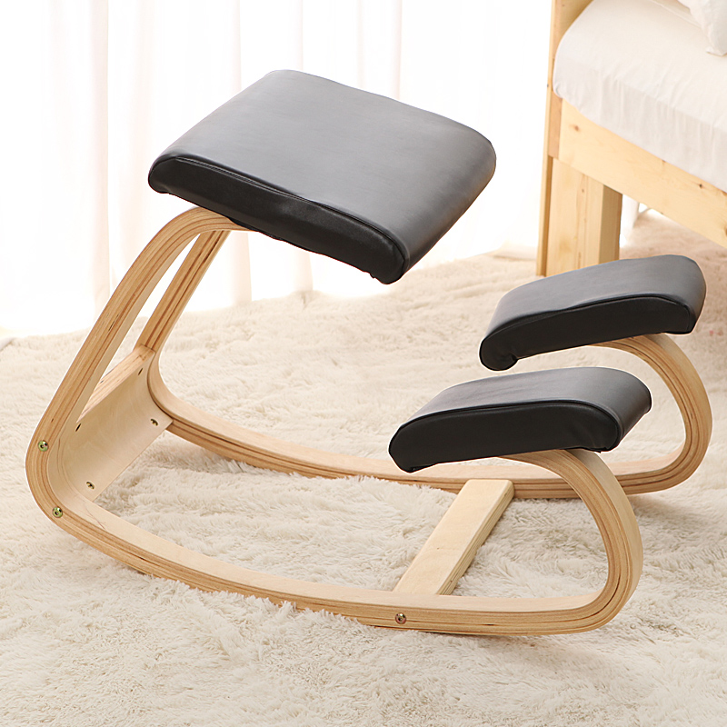 Original Ergonomic Kneeling Chair Stool Leather Seat Home Office Furniture Rocking Wooden Kneeling Computer Posture Chair Design baby seat inflatable sofa stool stool bb portable small bath bath chair seat chair school