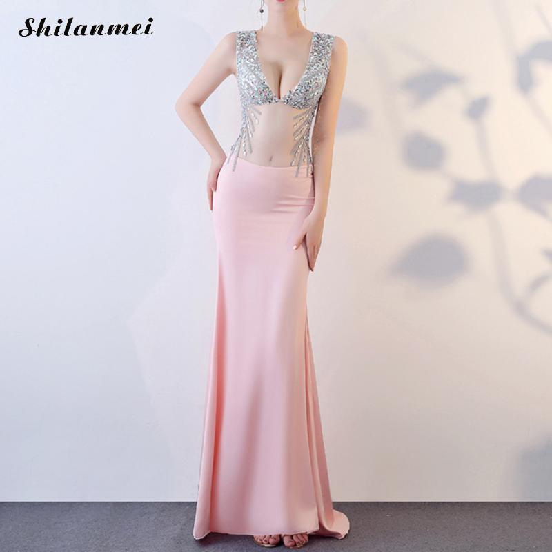 Элегантное женское блестящее длинное платье с блестками без рукавов с глубоким v образным вырезом, прозрачные вечерние платья розового и бе
