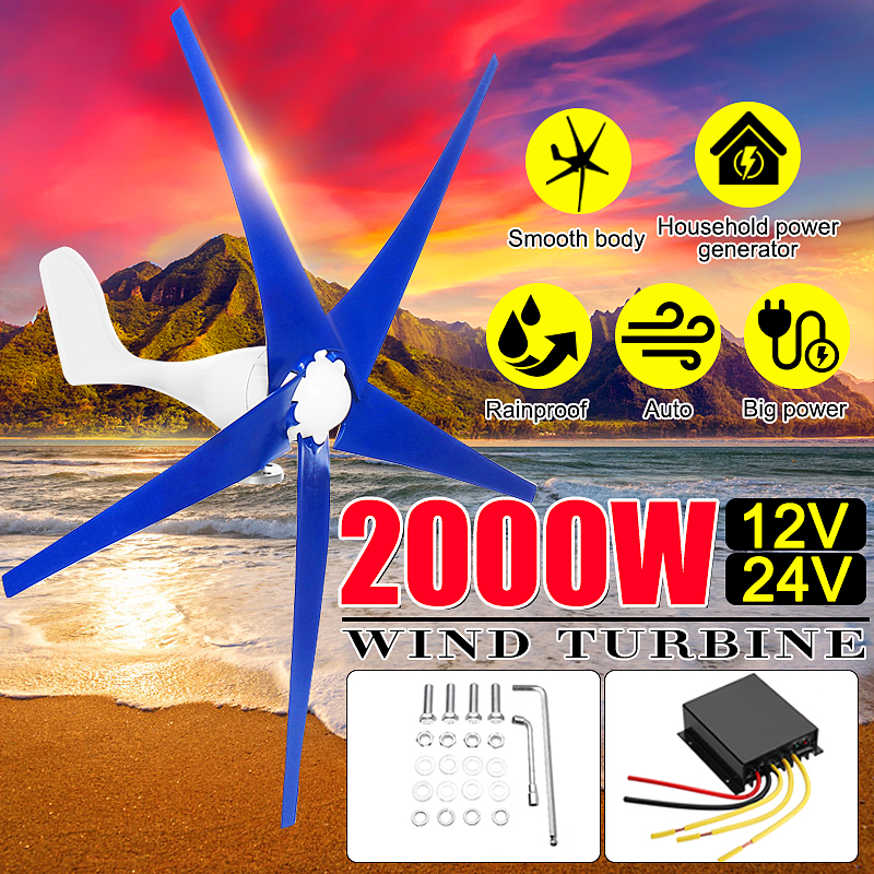 Newest 2000W 12/24V Wind for Turbine Generator 3/5 Wind Blades OptionWind Controller Gift Fit for Home +Mounting accessories bag