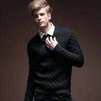 Ücretsiz Kargo Yeni erkek erkek moda kişilik rahat kış kalınlaşmış balıkçı yaka uzun kollu siyah kazak 14549 satışa