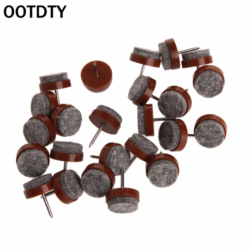 OOTDTY24PCS 20 mm Round No-noise Furniture Table Chair Feet Legs Glides Skid Tile Felt Pad Floor Nail Protector Chair Feet Pads  цена и фото