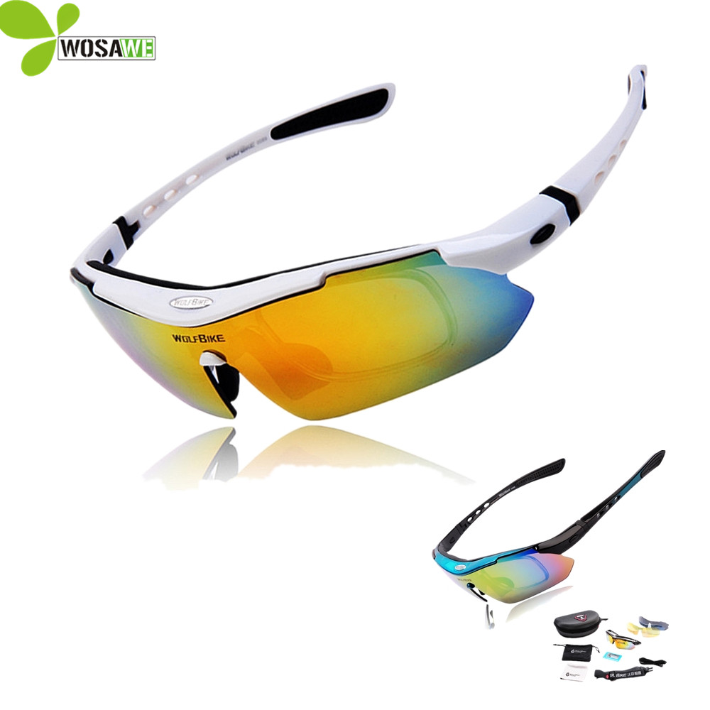 WOLFBIKE Men Cycling 안경 안경 자전거 선글라스 5 렌즈 UV 400 스포츠 Mtb Bike Goggles Polarized Cycling Sunglasses