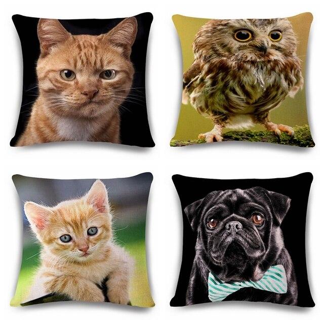 Funny Cat Dog Owl Cushion PrintedNo Filler Linen Family Affection Sofa Car Seat
