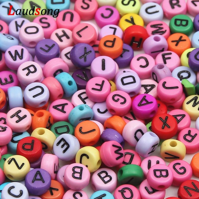 Lote de 200 unidades de cuentas acrílicas planas redondas aleatorias de 7mm, alfabeto/Cuentas de letras para la fabricación de joyas, pulseras hechas a mano con banda de telar