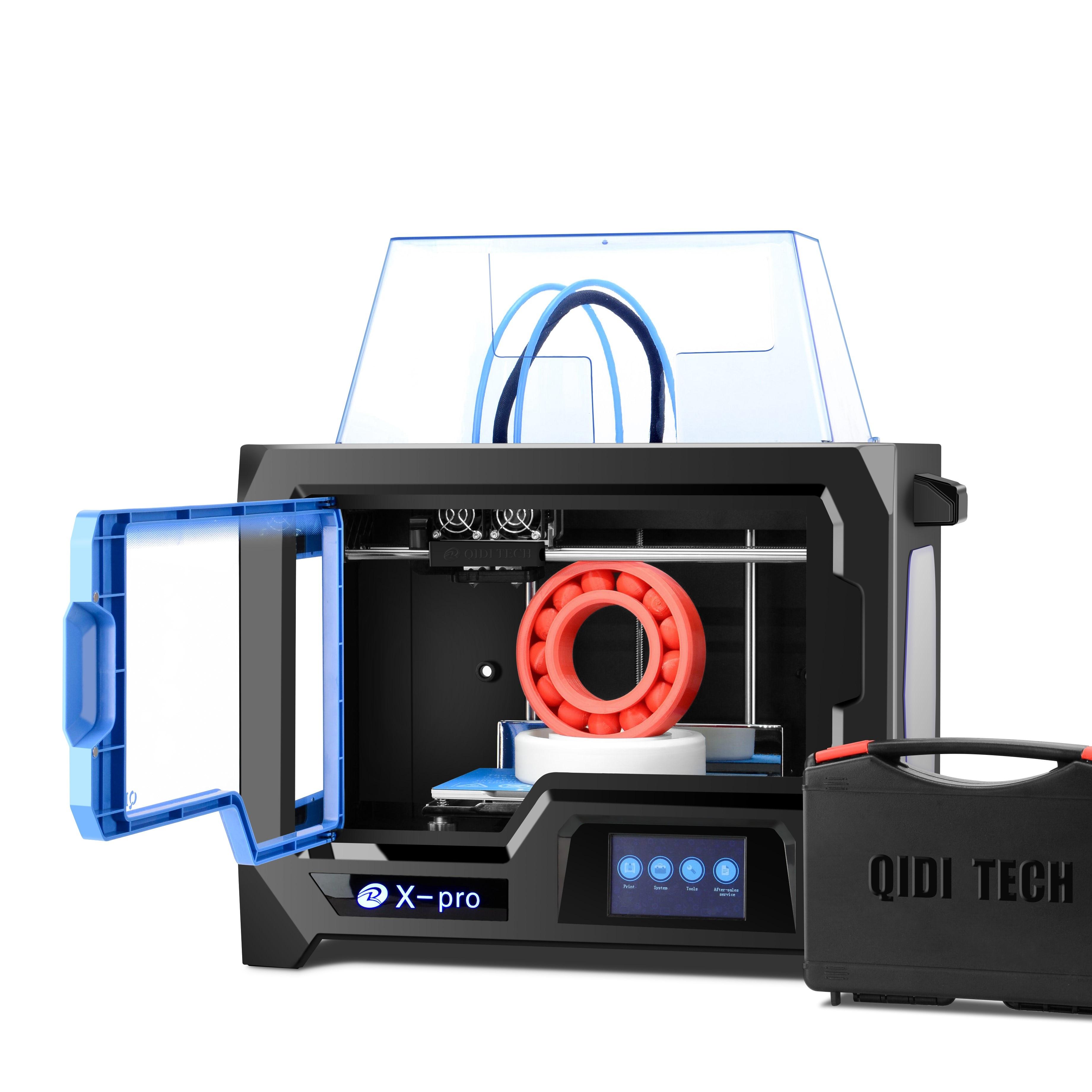 QIDI TECH 3D stampante Doppio Estrusore 3D stampante X-pro Da 4.3 Pollici Dello Schermo di Tocco di wifi/lan connessione 200*150*150 millimetri ABS E PLA TPU