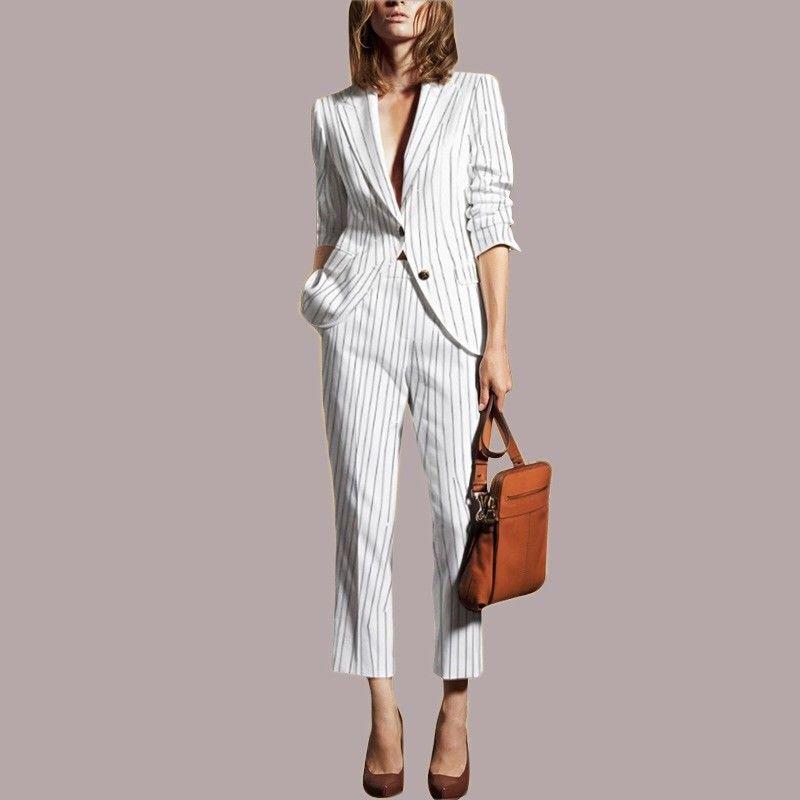 Noir et blanc rayure costumes femmes d'affaires costumes 2 pièces pantalons dames bureau uniforme femme pantalon costumes pour mariages personnalisé