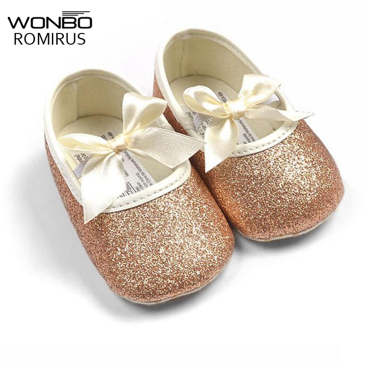 2019 Hot Sell Baby Girl Princess Sparkly Shoes Infant Cute Princess Golden Silver Footwear Toddlers Fashion Soft Sole Shoes