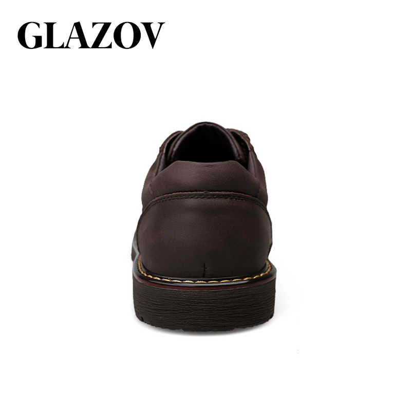 GLAZOV Mode Komfortable Casual Schuhe Oxfords Männer Schuhe Qualität Aus Echtem Leder Schuhe Männer Wohnungen Heißer Verkauf Arbeits Männer Schuhe