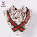 BYSIFA Winter Brand Striped Square Scarves For Women 2016 New Accessories 90*90cm Silk Scarf Shawl Muslim Headscarves Red Beige