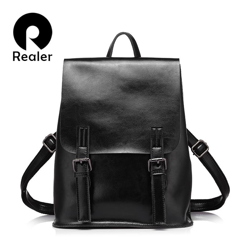 Realer Women Backpack Oil Wax Cow Split Leather Backpack For Teenage Girls School Backpacks Large Capacity Shoulder Bags Brown