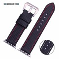 Eache venda de reloj correas de reloj de reemplazo de la fibra de carbono fit para apple watch 38mm 42mm negro con blanco y rojo costura
