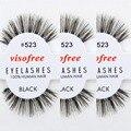 12 pairs/lot Visofree Eyelashes 100% Human Hair Handmade False Eyelashes Messy Nature Eye Lashes #523 maquiagem