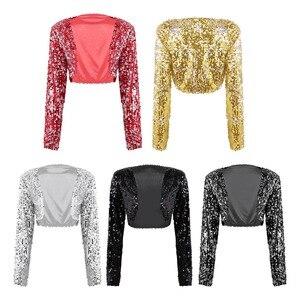 Image 2 - Kadınlar düğün gelin Shrug ceket parlak pullu ceket uzun kollu açık ön Glitter kırpılmış Blazer Bolero omuz silkme üstleri Clubwear