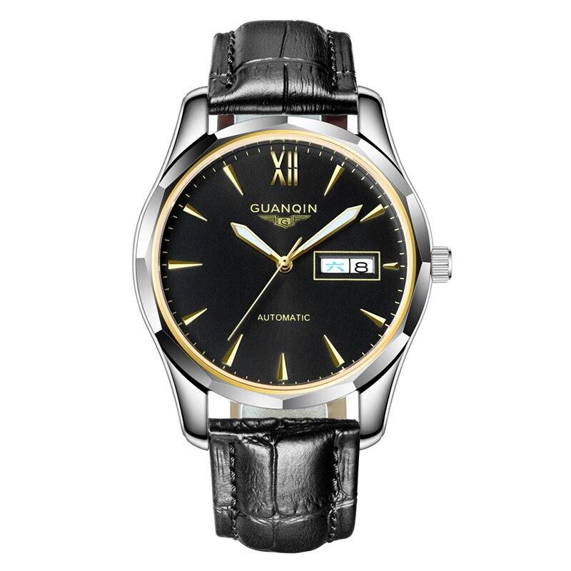 GUANQIN automatique mécanique hommes montre en acier tungstène montres lumineuses Date calendrier japonais mouvement montre avec bracelet en cuir - 2