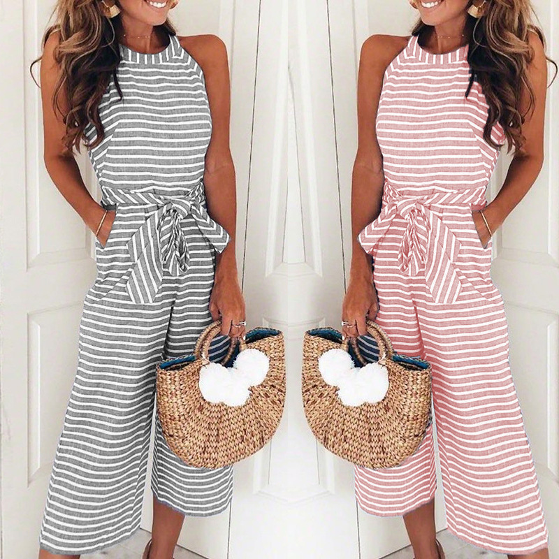 Off Shoulder Lacing Slim Fit Stripe Jumpsuits