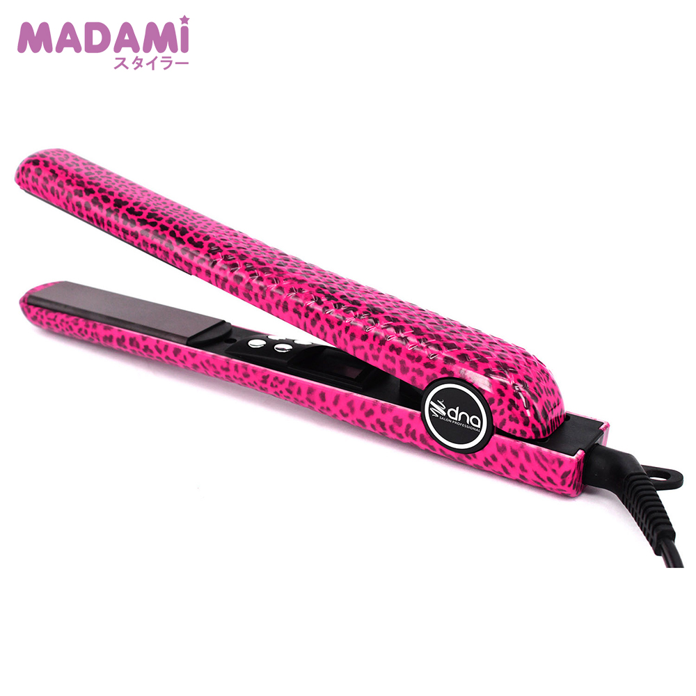 100% Good Quality Ceramic Hair Straightening Flat Iron Straightener LCD Display Technology Alisador Cabelo Flat Leopard Pink professional vibrating titanium hair straightener digital display ceramic straightening irons flat iron hair styling tools eu