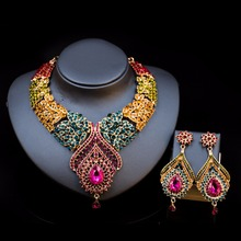 2017 New Fashion Trendy Nigerian Wedding African Beads Jewelry Sets Crystal Necklace Set Party Dubai