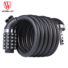WHEEL UP Bike Bicycle 5 Letters Code Lock Combination Coiled Bike Steel Cable Lock Cycling Password Lock Bicycle Accessories multicolo bike lock 5 digit code combination bicycle security lock 1200 mm x 12 mm steel cable spiral bike cycling bicycle lock