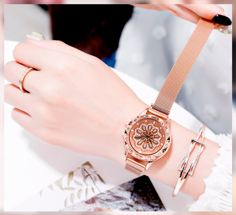 360-degree-rotation-Women-Watch-Mesh-Magnet-Starry-Sky-Ladies-Watch-Luxury-Fashion-Geometric-Quartz-Watch 7