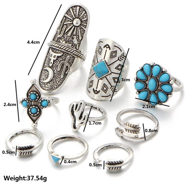 Ladies Vintage Bohemian Ring Set 9pcs