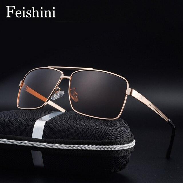 FEISHINI бренд фильм голубой покрытие Сильный ударопрочность объектив UV400 классические квадратные металлические солнцезащитные очки Для мужч...