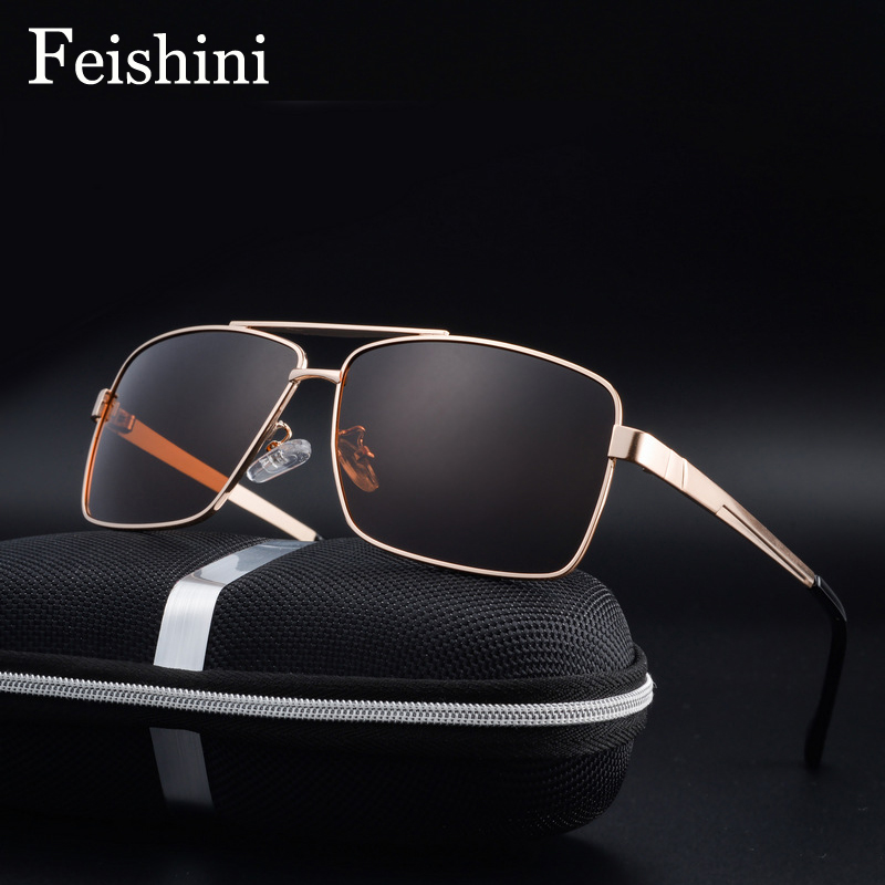 a6f219d96e6 Detail Feedback Questions about FEISHINI Brand Blue Film Plating Strong  Impact Resistance Lens UV400 Classic Square Metal Sunglasses Men Polarized  Gradient ...