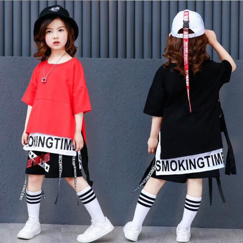 New Kids Street Dance Clothing For Girls Boys Black Red Long Sleeve Oversize Hip Hop T Shirt Pant Two Pieces Children Sport Set