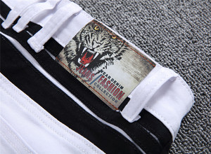Image 5 - 白人男性のジーンズストレート新ブランドリッピング穴デニムジーンズジッパーサイドブラックストライプ、男性のパンツスリムプラスサイズのズボン