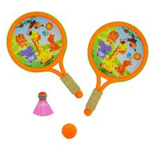 1 Set of Educational Funny Plastic Sports Toys Parent-Child Sports Game Toys Badminton Tennis Rackets Balls Set Outdoor(China)