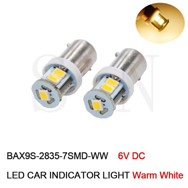 Best Selling 10PCS 6V 6 Volt 7SMD Auto Car Indicator LED Light LED Bulb for Pinball Machine BAX9S H6W Warm White 4300K