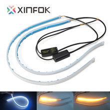 2x 30cm 45cm 60cm Waterproof Switchback LED DRL Daytime Running Light Flexible Car LED Strip Headlight Turn signal Light(China)