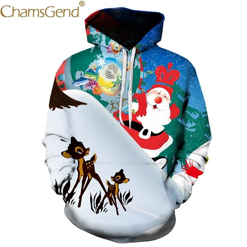 Happy Christmas Cartoon Sweatshirts Men Pullover Hoodies Sweatshirts with Pocket 80912