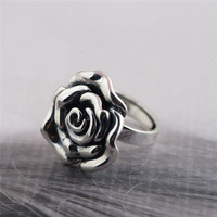 BESTLYBUY Gennuine 925 Sterling Silver Rose Flower Rings for Women Lover Engagement Gift Romantic Fashion Jewelry Resizable Ring
