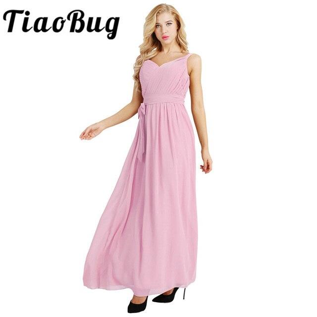 Mulheres Senhoras Sem Mangas Dama de Honra Vestido Plissado V Neck Chiffon  Elegante Longo Maxi Vestido b972b77b0985
