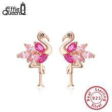 Effie Queen 925 Sterling Silver Earrings Women Flamingo Bird Stud Earring Small 4A Zircon Rose Gold Color  Jewelry BE164