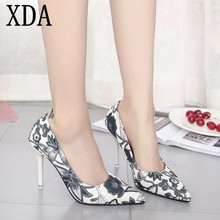 XDA Woman Slip On Shoes Fashion Leaves Printing Ladies Sexy Stiletto Female  Floral Women pointed toe 42e706880289