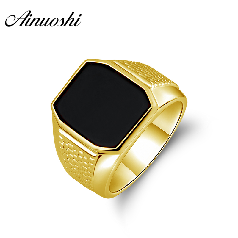 AINUOSHI 14K Big Black Agate Top Falt Ring 14K Solid Yellow Gold Solitaire Vintage Wedding Band