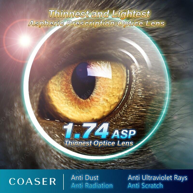 Lentes asféricas de lente 1,74 de índice alto más delgado lentes de ojo lentes de miopía lentes de prescripción lentes transparentes CR39 gafas ópticas
