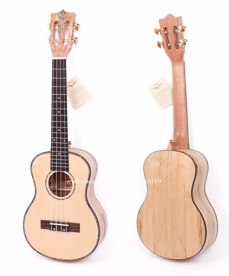 "23"" ukulele With Solid Spruce Top/Rotten Maple Body ,23"" Concert Electric Acoustic Ukulele With 2 Band LCD Pickup"