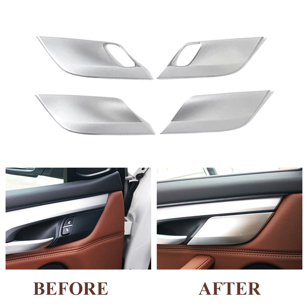 JEAZEA 4Pcs ABS Safety Door Lock Cover Sequin Trim Decoration For BMW X5 X6 2014 2015 2016 Car Styling