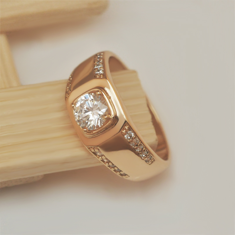 MGFam Single Stone Men Rings Fashion Jewelry Gold Color and ...