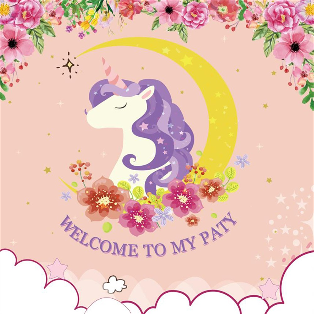 Laeacco Flowers Unicorn Party Baby Children Photography Backgrounds Customized Photographic Backdrops Props For Photo Studio
