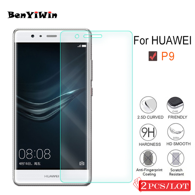 2 PCS Premium Tempered Glass for Huawei P9 Screen Protector Clear Toughened protective film Case For Ascend P9 Glass Cove Phone