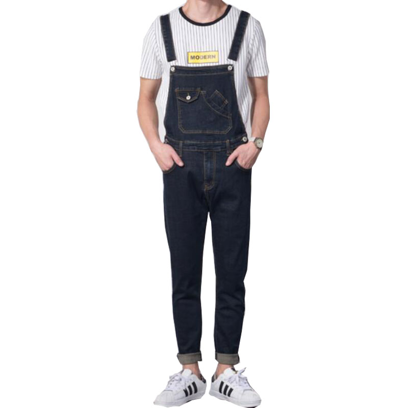 New 2019 Fashion Retro Design Pocket Jeans Denim Overalls Men's Casual Wash Slim Bib Overalls Jeans Men Blue Jumpsuit Jeans